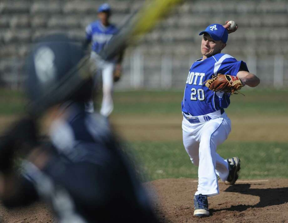 Abbott Tech's Nathan Beardsley (20) throws a pitch in Immaculate's 11-2 win over Abbott Tech in the high school baseball game at Henry Abbott Technical School in Danbury, Conn. Wednesday, April 9, 2014. Photo: Tyler Sizemore / The News-Times