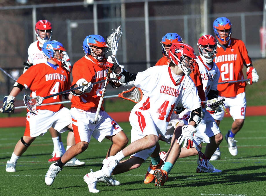 Boys high school lacrosse match between Greenwich High School and Danbury High School at Greenwich, Wednesday, April 9, 2014. Greenwich won the match, 19-3. Photo: Bob Luckey / Greenwich Time