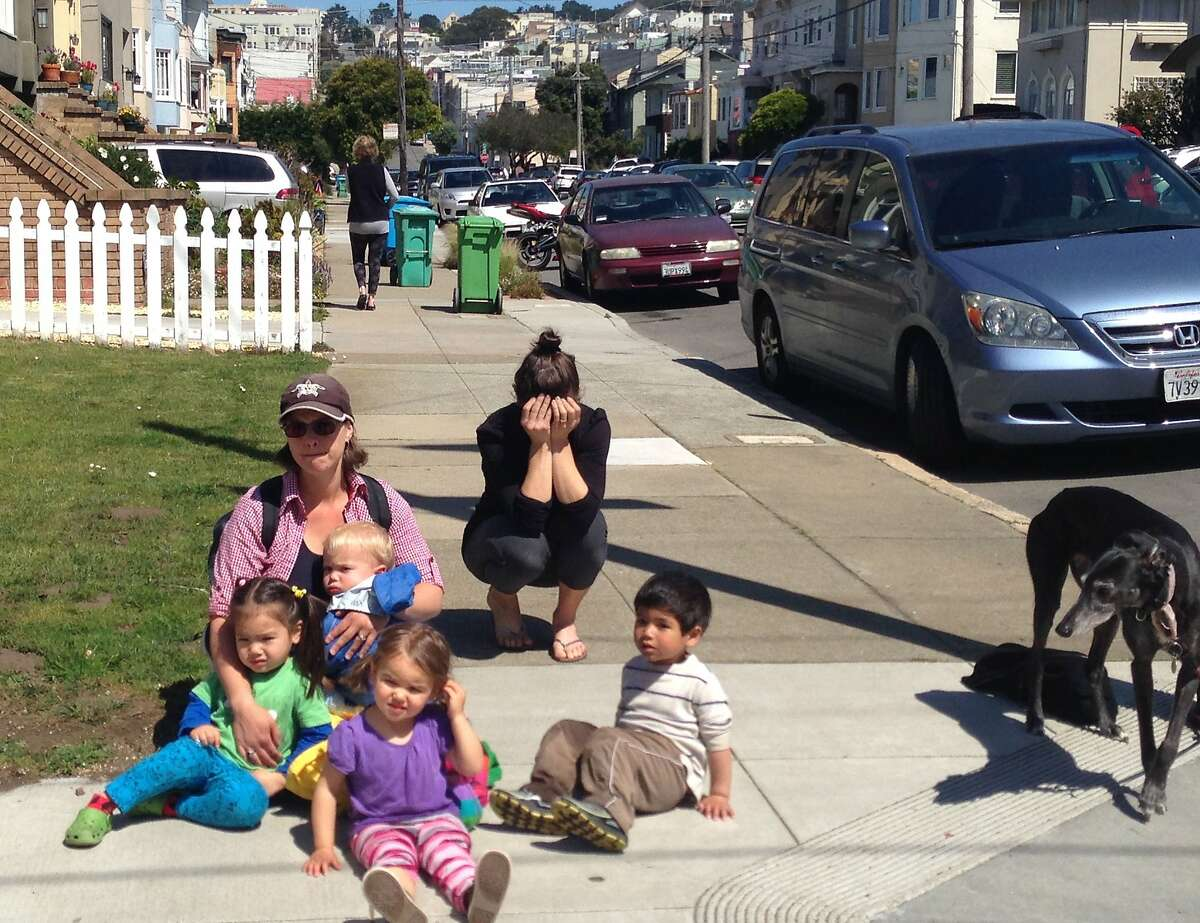 Local daycare worker Carlene Murray (left), is seen on the corner of Fulton and 43rd Avenue in San Francisco on April 10, 2014. She was nearby when a child (not from her daycare) was struck in the intersection.