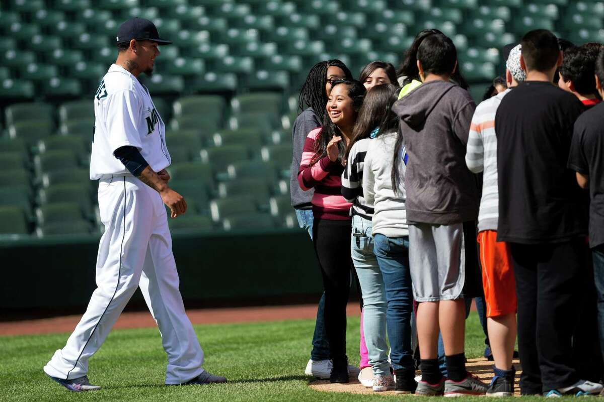 A group of Seattle area middle school students were in for a surprise when Mariners pitcher Felix Hernandez and Grammy Award-winning artist Macklemore showed up on the set of an anti-bullying campaign Thursday, April 10, 2014, at Safeco Field in Seattle. The Seattle Mariners are participating in an anti-bullying campaign targeted at middle school students in Washington, with a component of the campaign being public service announcements for radio and TV.