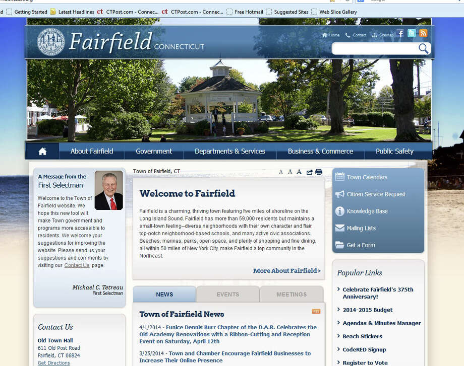 The town's new website, with more features than before, has gone live at www.fairfieldct.org. Photo: Contributed Photo / Fairfield Citizen