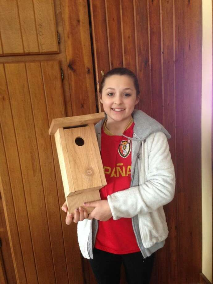 Alyssa Landry of Guilderland is making bluebird houses from scratch as a way to raise money to help her diabetic best friend, Sydney Steinhardt, who has suffered from Type 1 diabetes since she was eight. Her friend's team, Sydney?s Spinners, is in the June 1 Saratoga Tour de Cure. With the help of her uncle, who has a woodworking shop, Alyssa has spent the past few weekends making the first batch of 15 bird houses, which are being sold for $20 each. All profits will be donated to the American Diabetes Association. (Photo provided)