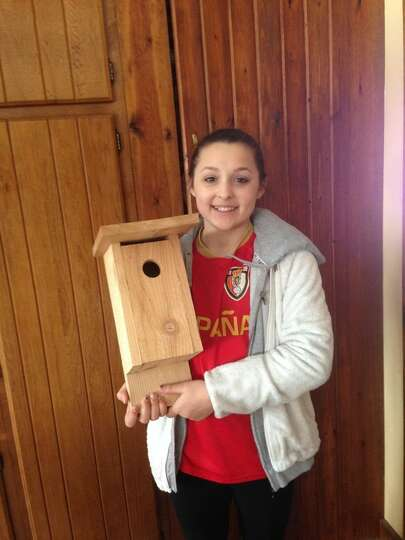 Alyssa Landry of Guilderland is making bluebird houses from scratch as a way to raise money to help