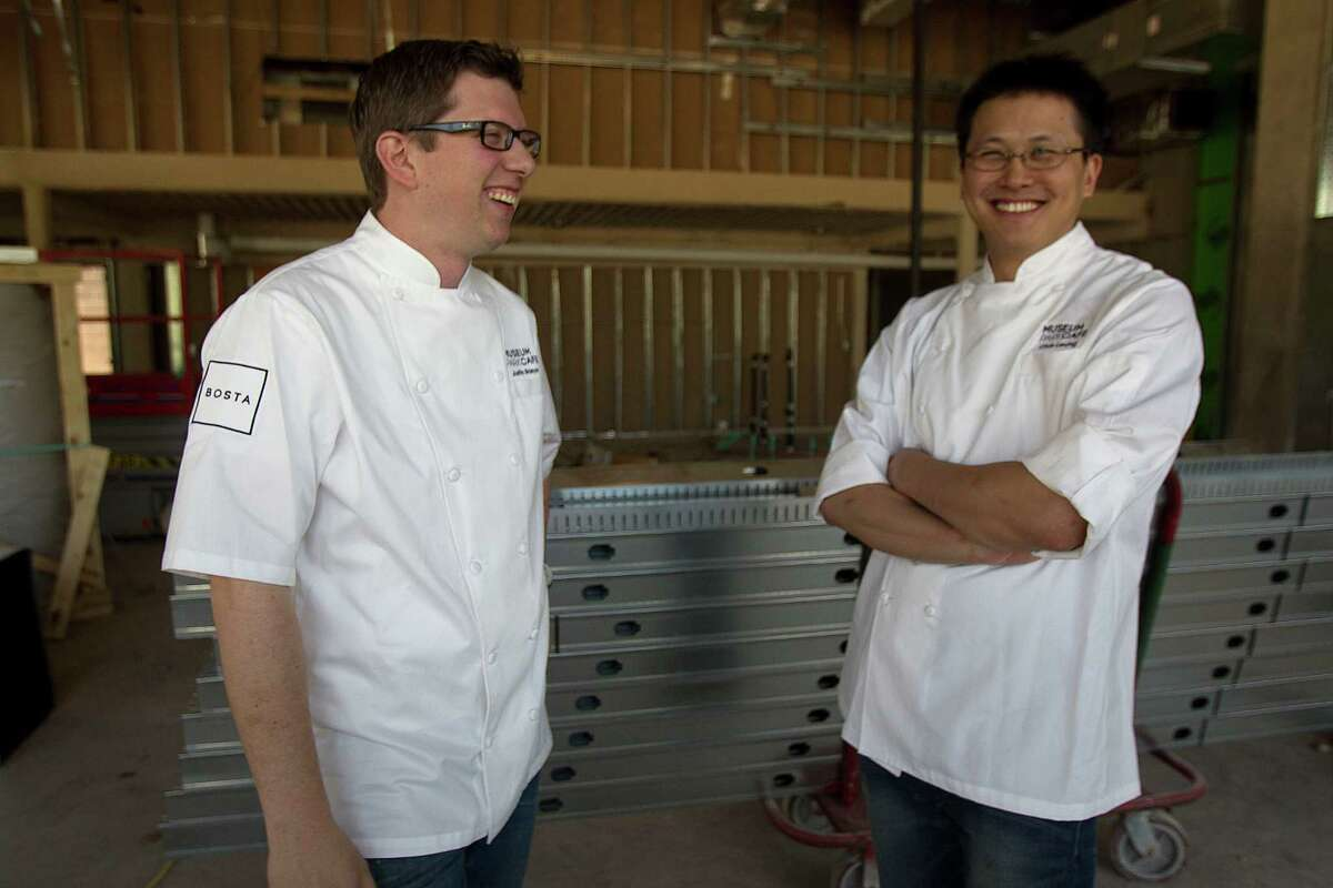 Museum Park Cafe Chef Justin Basye left, and Pastry Chef Chris Leung during a tour of the construction of the new restaurant in the Parc Binz building Thursday, April 10, 2014, in Houston. ( James Nielsen / Houston Chronicle )