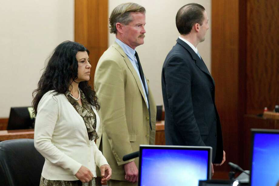 Ana Lilia Trujillo stands emotionless as she is found guilty of killing her boyfriend, after the jury deliberated less than two hours, on Tuesday, April 8, 2014, in Houston. Trujillo, 45, was found guilty murder, in the killing her 59-year-old boyfriend, Alf Stefan Andersson with the heel of a stiletto shoe, at his Museum District high-rise condominium in June 2013. Photo: Brett Coomer, Houston Chronicle / © 2014 Houston Chronicle