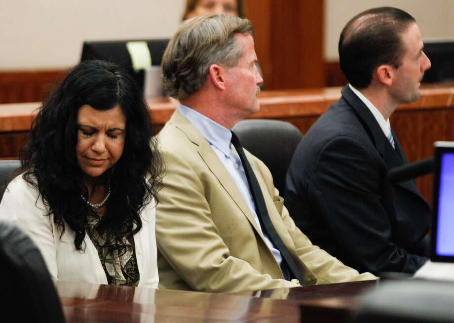 Ana Trujillo reacts after being found guilty of murder in Houston on Tuesday. Trujillo stabbed her boyfriend to death with a stiletto heel. Photo: Brett Coomer / Houston Chronicle