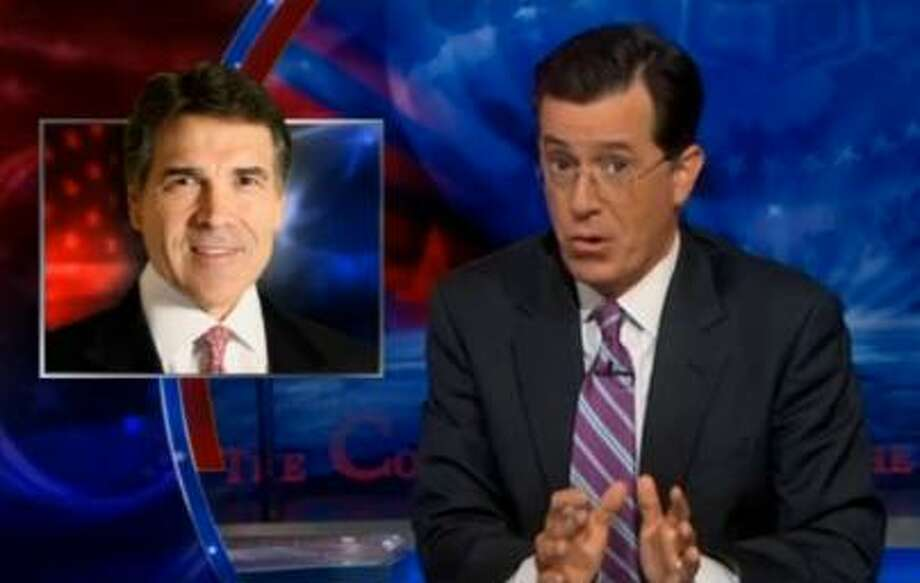 Stephen Colbert discusses Gov. Rick Perry during a segment on his show.