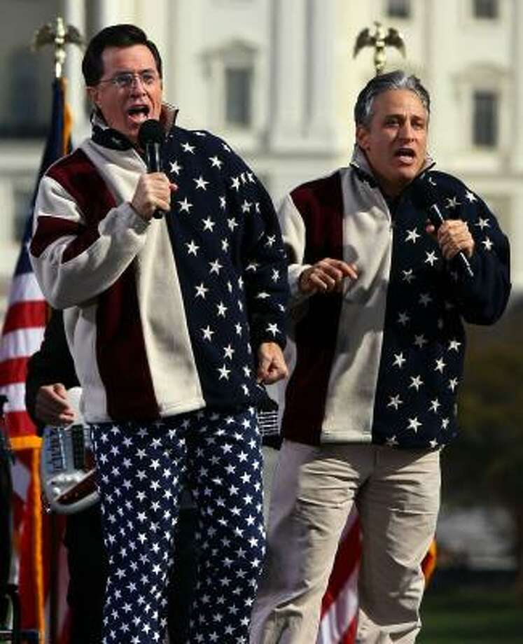 Comedians Steven Colbert (L) and Jon Stewart perform at the Rally To Restore Sanity And/Or Fear on the National Mall. Photo: Win McNamee, Getty Images