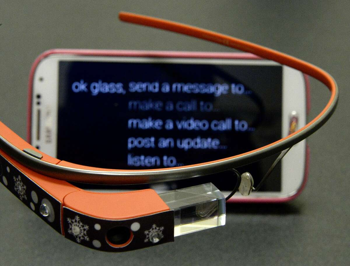 This March 6, 2014, photo shows Google Glasses belonging to