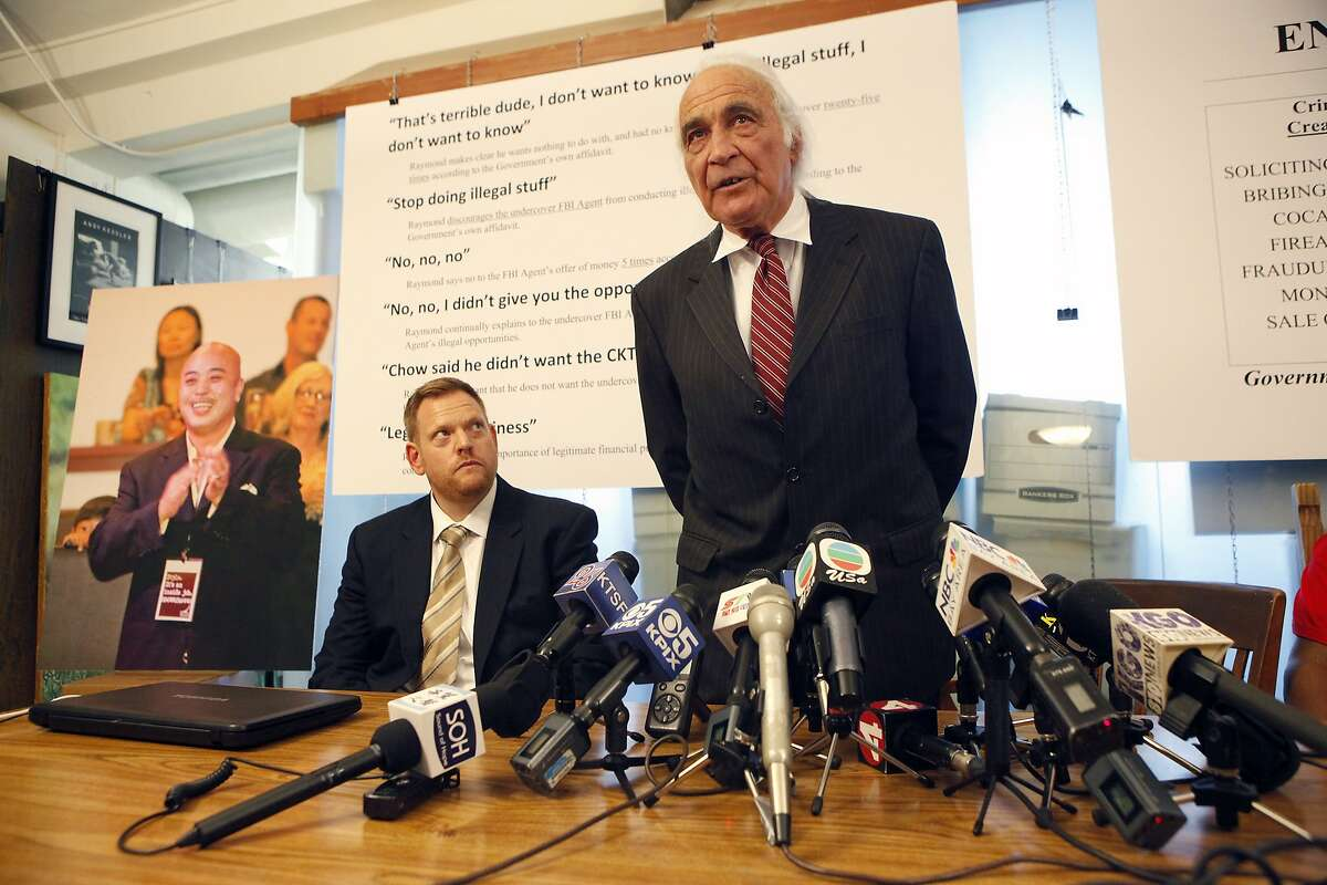 """Attorney J. Tony Serra, who is representing Raymond """"Shrimp Boy"""" Chow, along with attorney Curtis Briggs, left, speaks during a press conference held at the Pier 5 law offices in San Francisco, CA, Thursday April 10, 2014."""