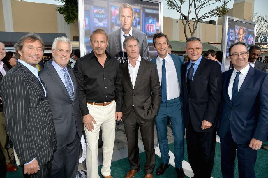 "Patrick Wachsberger, Co-Chairman of Lionsgate Motion Picture Group, Rob Friedman, Co-Chairman of Lionsgate Motion Picture Group, actor Kevin Costner, Jon Feltheimer, CEO of Lionsgate, Erik Feig, Co-President of Lionsgate's Motion Picture Group, Oddlot Entertainment's Michael Nathanson and Oddlot Entertainment's Bill Lischak attend Premiere Of Summit Entertainment's ""Draft Day"" at Regency Bruin Theatre in Los Angeles. Photo: Michael Buckner, Getty Images"