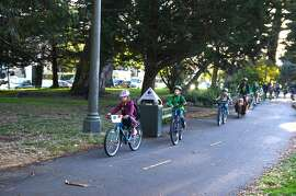 Grattan Elementary School students pedaling in a bike train on last year's Bike and Roll to School Week.
