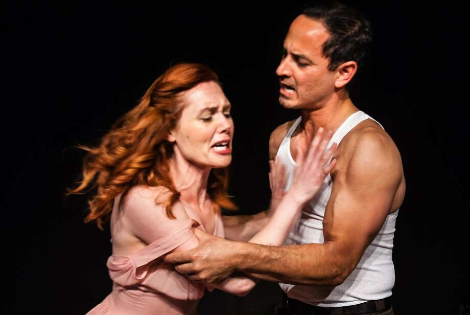 """Blanche (Marjorie Hazeltine) can't depend on the kindness of Stanley (Paul Ulloa) in Northside Theatre's """"A Streetcar Named Desire."""" Photo: Dana Grover"""