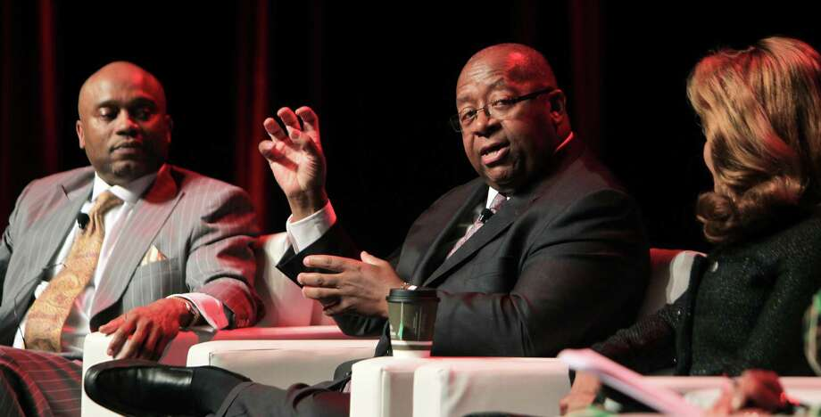 Joe W. Laymon (center), vice president of human resources and corporate services for the Chevron Corp. participates in on a panel discussion during the American Association of Blacks in Energy's national conference in Houston. Photo: Mayra Beltran / Houston Chronicle / © 2014 Houston Chronicle