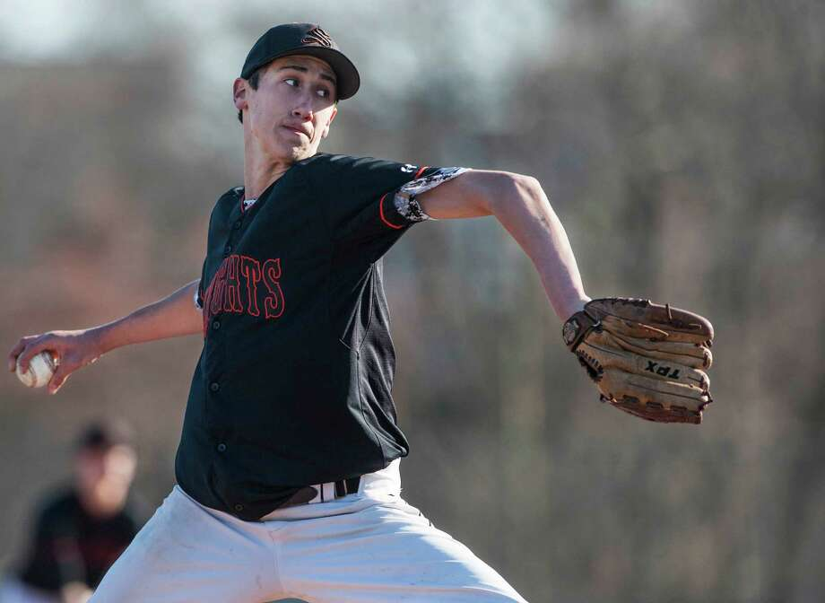 Stamford high school pitcher Billy Devito on the mound during a baseball game against Trinity Catholic high school played at Stamford high school, Stamford, CT on Thursday, April, 10th, 2014. Photo: Mark Conrad / Connecticut Post Freelance