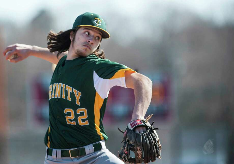 Trinity Catholic high school pitcher Anthony Hoegemann on the mound during a baseball game against Stamford high school played at Stamford high school, Stamford, CT on Thursday, April, 10th, 2014. Photo: Mark Conrad / Connecticut Post Freelance