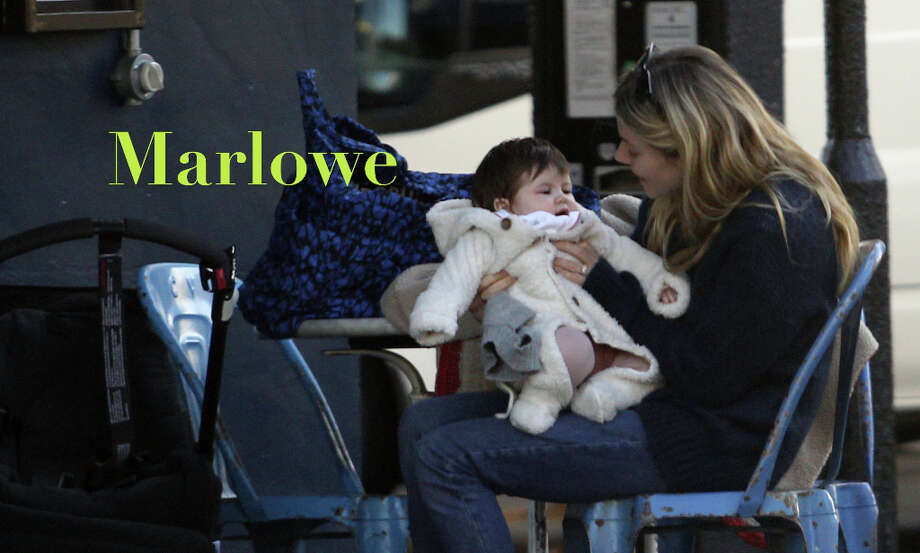 Marlowe and to a lesser extent Marlow are enjoying big bounces in the first part of this year thanks to a bumper crop of starbabies: Sienna Miller's Marlowe Ottoline (pictured), Nathan Followill's Violet Marlowe, and Jason Schwartzman's Marlowe — all girls — along with designer Phoebe Philo's son Marlow. Not to mention 16th century dramatist Christopher Marlowe. The English surname, which you might think of as a fresh spin on the flagging Marley, means driftwood and is up over 350 percent, primarily for girls. Photo: Neil Mockford, Neil Mockford / FilmMagic / 2012 FilmMagic
