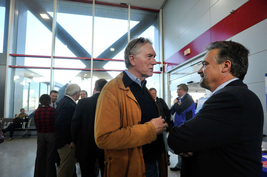 Metro-North President Joseph Giulietti, right, speaks with John Hartwell, of Westport, representing the Connecticut Commuter Rail Council, during Giulietti's first listening session at the Stamford, Conn., train station on Thursday, April 10, 2014. Photo: Jason Rearick / Stamford Advocate
