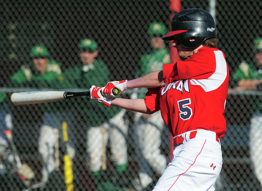 Foran's Tyler Kasuba (#5) at bat, during baseball action against Notre Dame of West Haven in Milford, Conn. on Thursday April 10, 2014. Photo: Christian Abraham / Connecticut Post