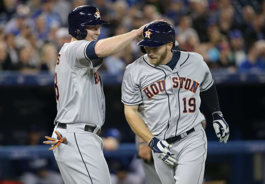 April 10: Astros 6, Blue Jays 4Robbie Grossman of the Astros is congratulated by Marc Krauss after hitting a two-run home run. Photo: Tom Szczerbowski, Getty Images