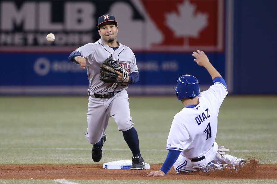 Jose Altuve of the Astros turns a double play. Photo: Tom Szczerbowski, Getty Images