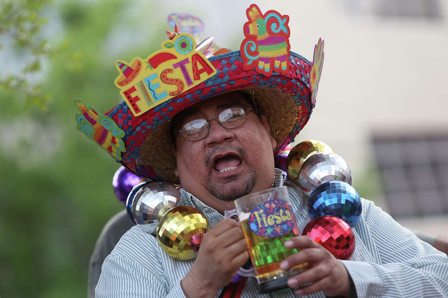 Leonard Alonzo celebrates during Fiesta Fiesta at The Alamo in San Antonio on Thursday, April 10, 2014. 