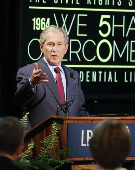 "George W. Bush, speaking at the LBJ Presidential Library, says the ""soft bigotry"" of previous decades might be returning, saying that while U.S. education is ""no longer legally separate,"" it is ""not equal."" Photo: Jack Plunkett / Associated Press / FR59553 AP"