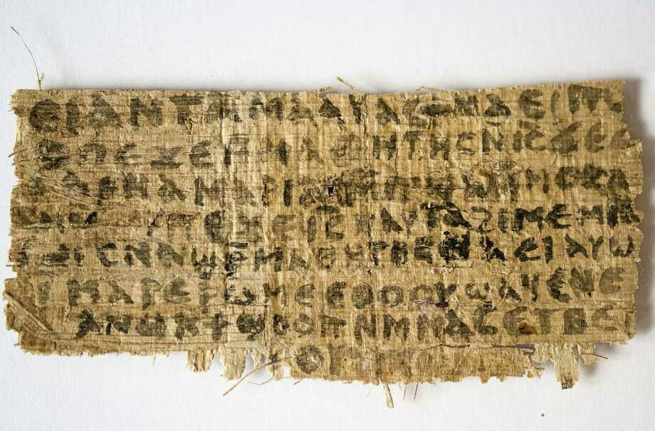 A fragment of papyrus is the only existing ancient text that quotes Jesus explicitly referring to having a wife, according to Harvard University divinity professor Karen L. King. Photo: Associated Press / Harvard University