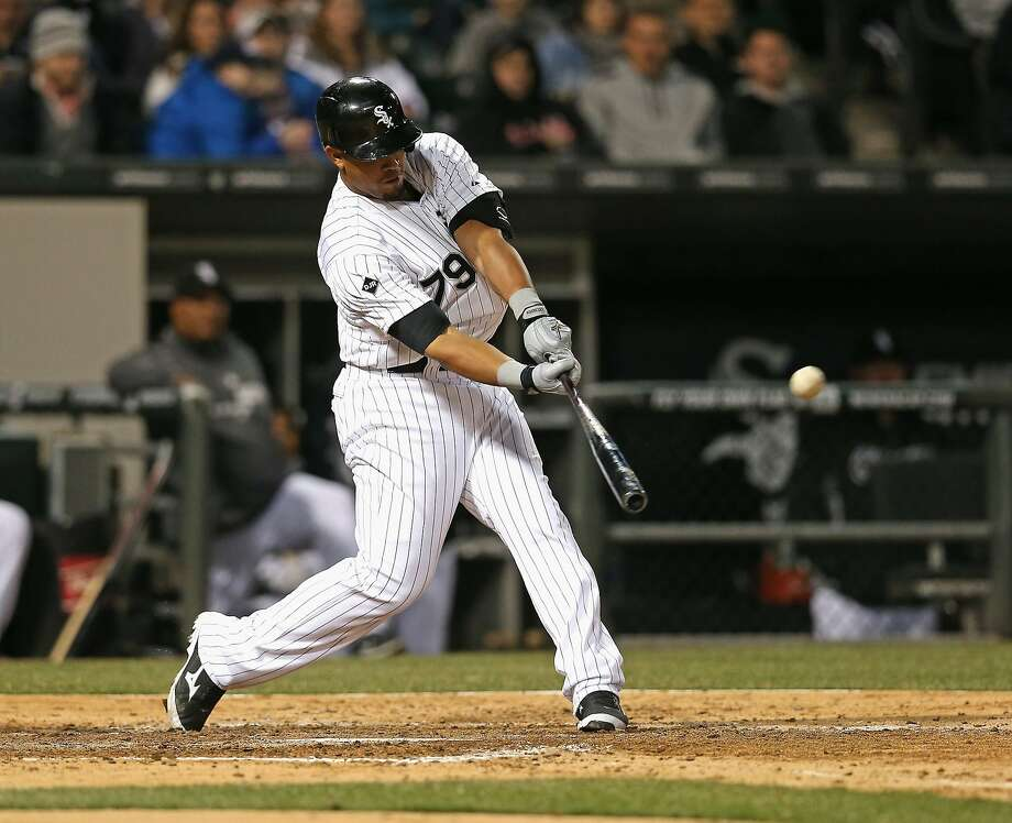 CHICAGO, IL - APRIL 10: Jose Abreu #79 of the Chicago White Sox hits his second home run of the game, a solo shot in the 5th inning, against the Cleveland Indians at U.S. Cellular Field on April 10, 2014 in Chicago, Illinois. (Photo by Jonathan Daniel/Getty Images) Photo: Jonathan Daniel, Getty Images