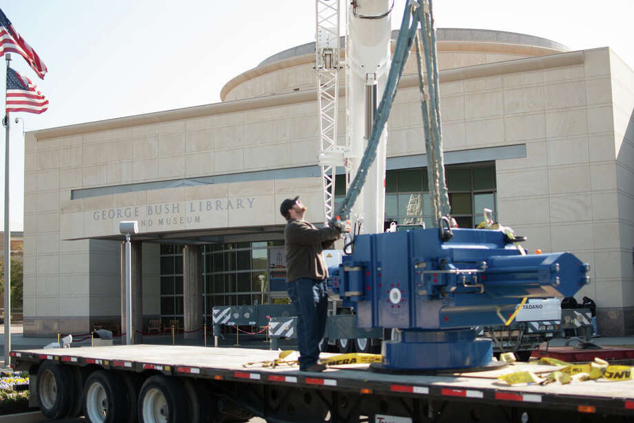A 20-ton blowout preventer from National Oilwell Varco is delivered to the George Bush Presidential Library and Museum at Texas A&M University in March 2014 as part of the Offshore Drilling exhibit on display through Feb. 1, 2015.A 20-ton blowout preventer from National Oilwell Varco is delivered to the George Bush Presidential Library and Museum at Texas A&M University in March 2014 as part of the Offshore Drilling exhibit on display through Feb. 1, 2015. Photo: George Bush Presidential Library And Museum
