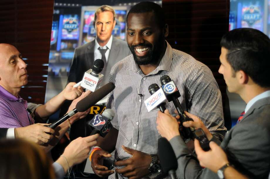 "Houston Texan Whitney Mercilus talks to the media before a screening party for the movie ""Draft Day"" at the Texans Grille on Queensbury in City Centre Thursday April 10, 2014.(Dave Rossman photo) Photo: Dave Rossman, For The Houston Chronicle"