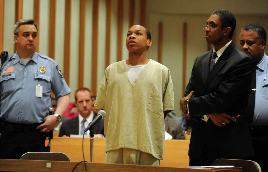 Kayne Minor, 19, is sentenced Friday, April 11, 2014, in Superior Court in Bridgeport, Conn., for the role police said he played in the fatal shooting of Justin Nwalozie, 19, a Harding High School student. Minor is represented by attorney Errol Skyers. Photo: Autumn Driscoll / Connecticut Post