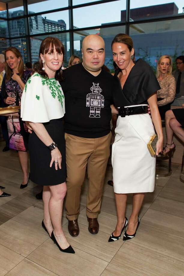 Allison Speer, Andrew Gn and Hillary Thomas at a cocktail party in the Battery Penthouse hosted by de Grisogono in honor of Dede Wilsey and The Fine Art Museums of San Francisco on April 8, 2014. Photo: Drew Altizer Photography / Drew Altizer Photography