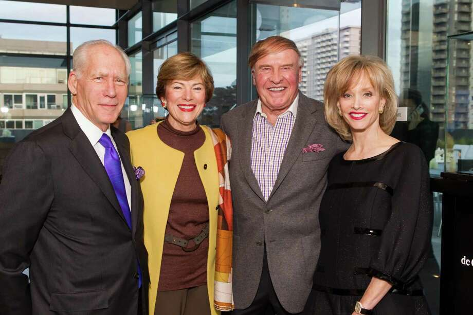Gary Shansby, Pam Kramlich, Dick Kramlich and OJ Shansby at a cocktail party in the Battery Penthouse hosted by de Grisogono in honor of Dede Wilsey and The Fine Art Museums of San Francisco on April 8, 2014. Photo: Drew Altizer Photography / Drew Altizer Photography