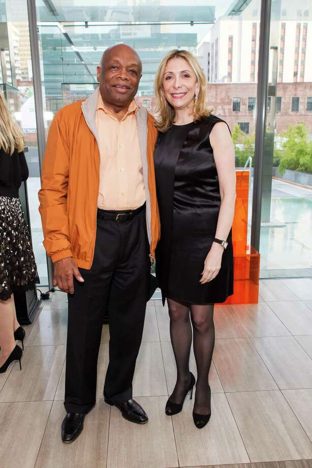 Willie Brown and Denise DeLuca at a cocktail party in the Battery Penthouse hosted by de Grisogono in honor of Dede Wilsey and The Fine Art Museums of San Francisco on April 8, 2014. Photo: Drew Altizer Photography / Drew Altizer Photography