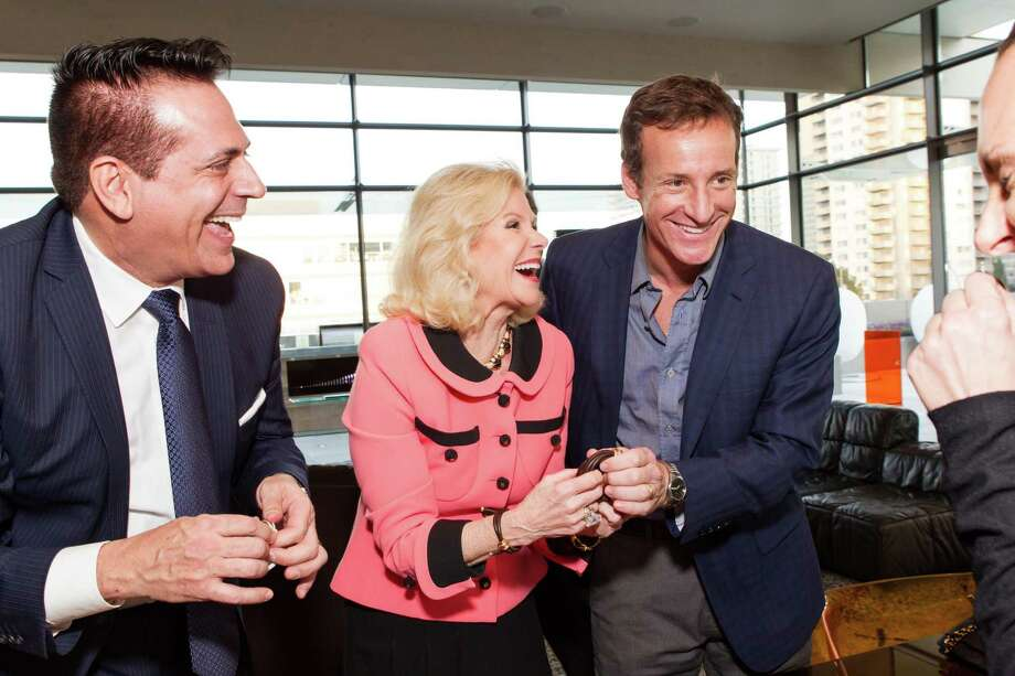 Giovannie Mattera, Dede Wilsey and Todd Traina at a cocktail party in the Battery Penthouse hosted by de Grisogono in honor of Dede Wilsey and The Fine Art Museums of San Francisco on April 8, 2014. Photo: Drew Altizer Photography / Drew Altizer Photography