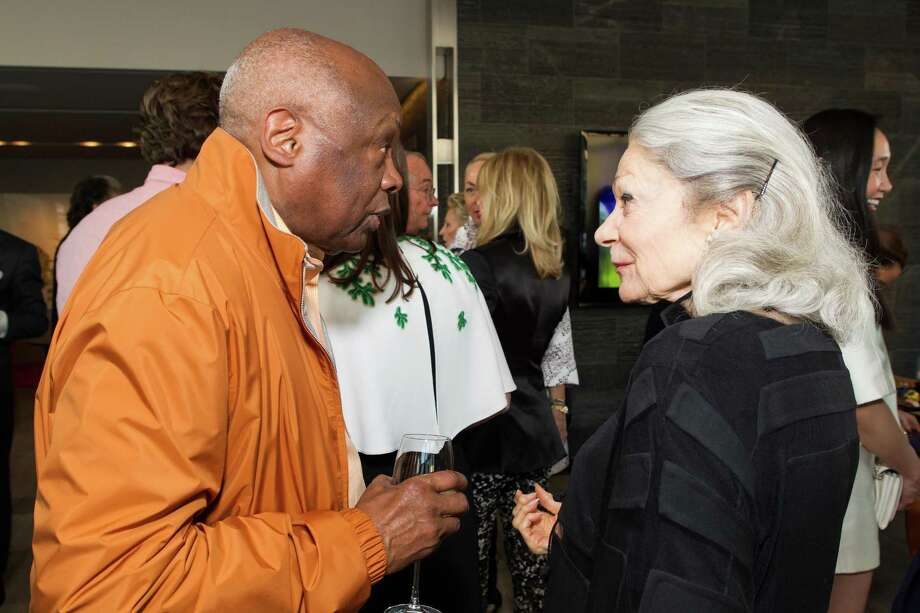 Willie Brown and Denise Hale at a cocktail party in the Battery Penthouse hosted by de Grisogono in honor of Dede Wilsey and The Fine Art Museums of San Francisco on April 8, 2014. Photo: Drew Altizer Photography / Drew Altizer Photography