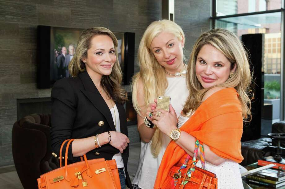 Nona Volsson, Sonya Molodetskaya and Rada Katz at a cocktail party in the Battery Penthouse hosted by de Grisogono in honor of Dede Wilsey and The Fine Art Museums of San Francisco on April 8, 2014. Photo: Drew Altizer Photography / Drew Altizer Photography
