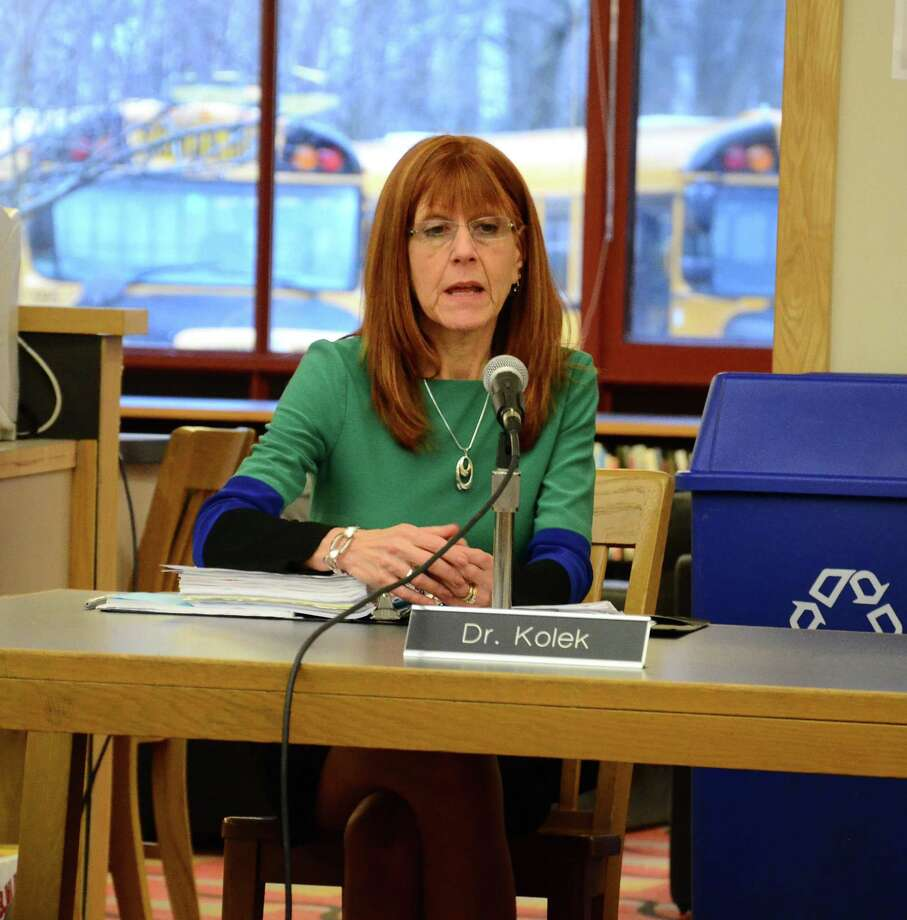 Superintendent of Schools Mary Kolek at a Board of Education special meeting March 17, 2014, at New Canaan High School. Kolek announced March 10 that she will retire at the end of the 2013-14 school year. Photo: Nelson Oliveira / New Canaan News