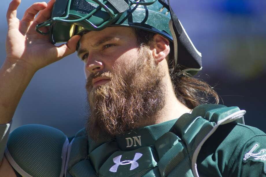Oakland Athletics catcher Derek Norris (36) against the Minnesota Twins in the fifth inning of their baseball game on Thursday, April 10, 2014 in Minneapolis. Photo: ANDY CLAYTON-KING, Associated Press