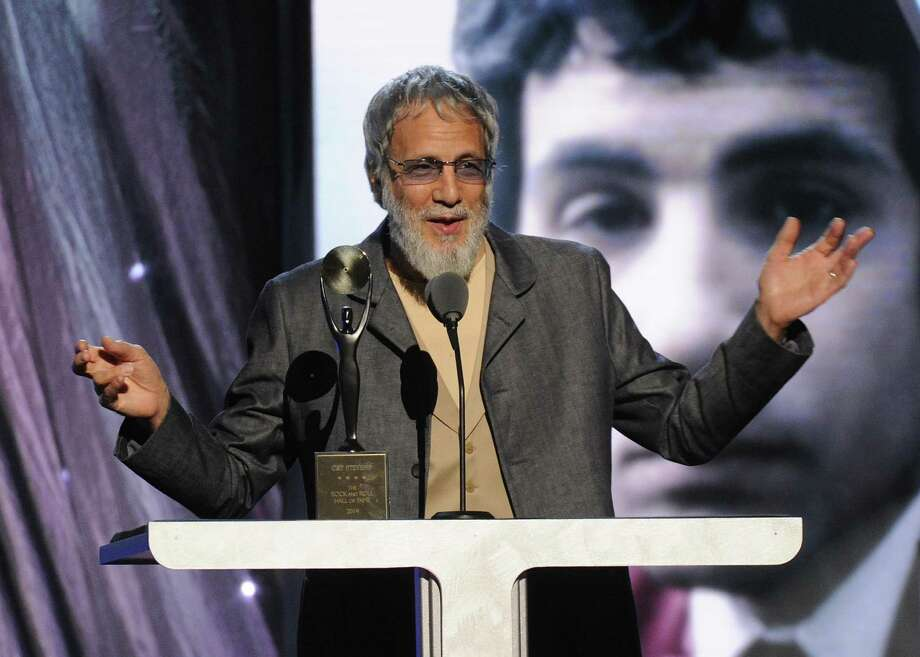 Hall of Fame Inductee Cat Stevens speaks at the 2014 Rock and Roll Hall of Fame Induction Ceremony on Thursday, April, 10, 2014 in New York. (Photo by Charles Sykes/Invision/AP) ORG XMIT: NYCS004 Photo: Charles Sykes, AP / Invision