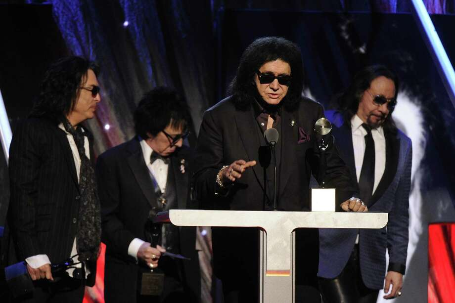 Hall of Fame Inductees, KISS, Paul Stanley, Peter Criss, Gene Simmons, and Ace Frehley speak at the 2014 Rock and Roll Hall of Fame Induction Ceremony on Thursday, April, 10, 2014 in New York. (Photo by Charles Sykes/Invision/AP) ORG XMIT: NYCS003 Photo: Charles Sykes, AP / Invision