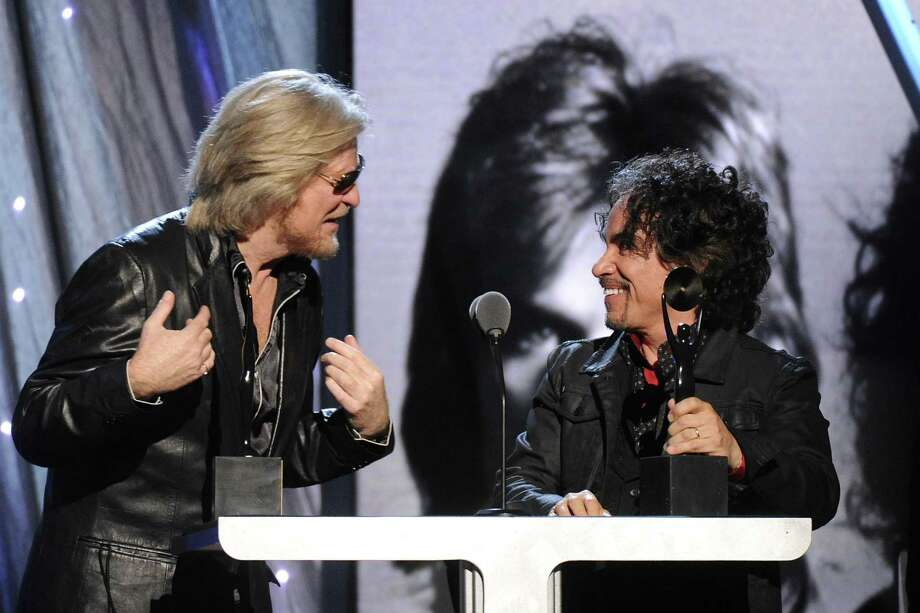 Hall of Fame Inductees, Hall and Oates, Daryl Hall and John Oates speak at the 2014 Rock and Roll Hall of Fame Induction Ceremony on Thursday, April, 10, 2014 in New York. (Photo by Charles Sykes/Invision/AP) ORG XMIT: NYCS466 Photo: Charles Sykes, AP / Invision