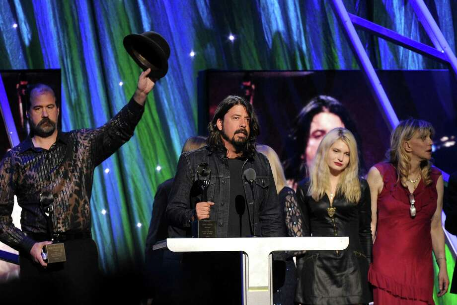 Hall of Fame Inductee of Nirvana, Dave Grohl speaks at the 2014 Rock and Roll Hall of Fame Induction Ceremony on Thursday, April, 10, 2014 in New York. (Photo by Charles Sykes/Invision/AP) ORG XMIT: NYCS469 Photo: Charles Sykes, AP / Invision