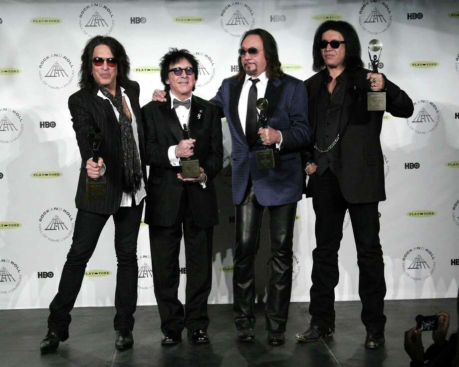 Hall of Fame Inductees Kiss original band members Paul Stanley, Peter Criss, Ace Frehley, and Gene Simmons appear in the press room at the 2014 Rock and Roll Hall of Fame Induction Ceremony on Thursday, April, 10, 2014, in New York. (Photo by Andy Kropa/Invision/AP) ORG XMIT: NYAK007 Photo: Andy Kropa, AP / Invision