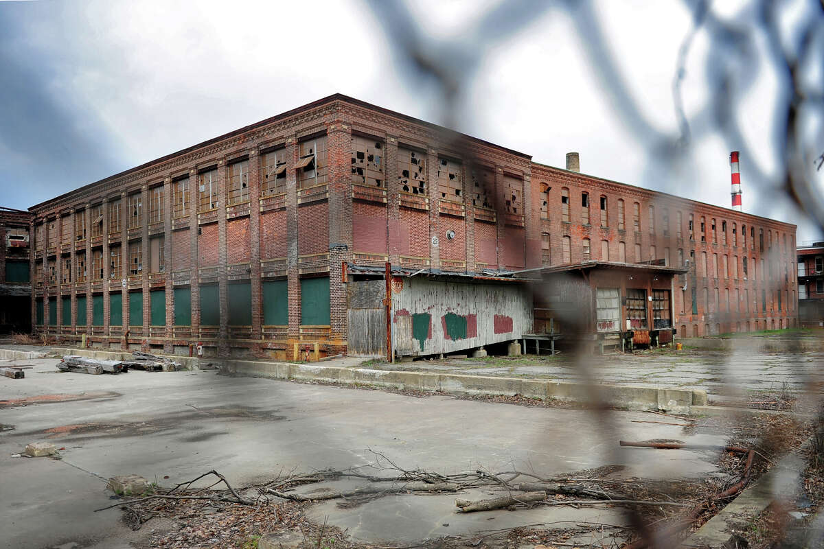 Part of the former Warnaco factory, seen from Atlantic St. in Bridgeport, Conn., April 11, 2014. A developer hopes to renovate the property, empty now for decades, into apartments.