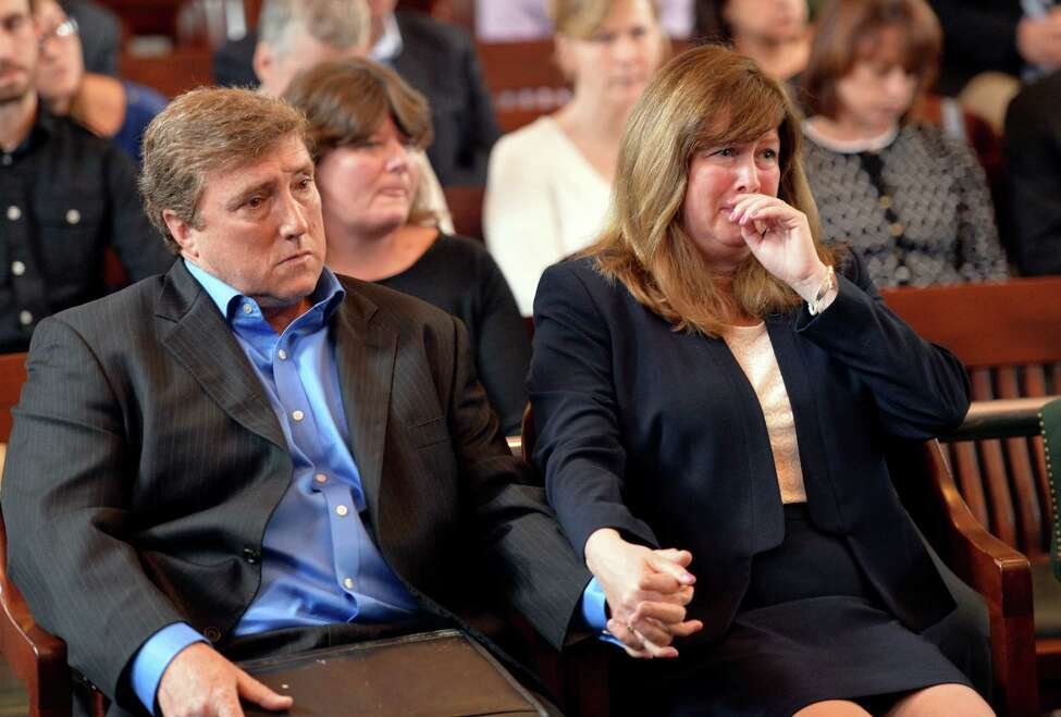 Parents of Sean Murphy react to statements in court during the sentencing of Mark Fusco for his conviction on charges of vehicular manslaughter Friday afternoon, April 11, 2014, at Rensselaer County Court in Troy, N.Y. Fusco admitted to driving drunk and killing Sean Murphy. (Skip Dickstein / Times Union)