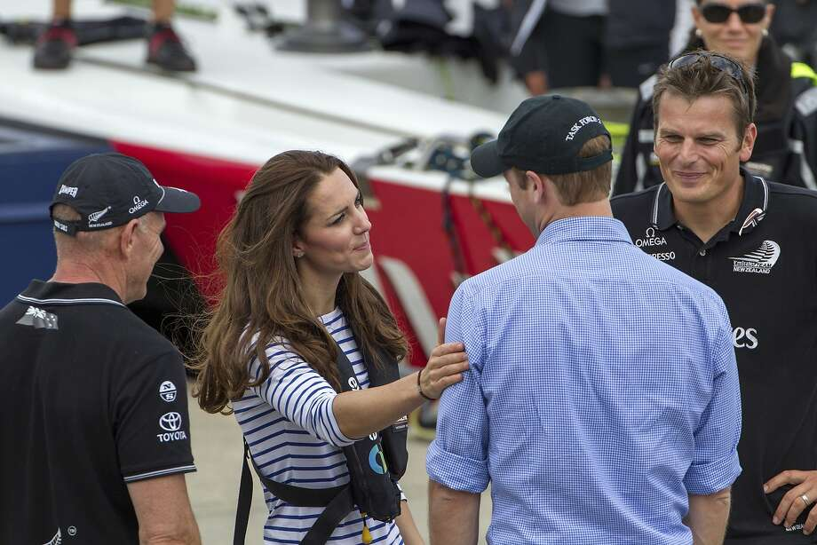 Better luck next time, sport:Kate gives William a consoling pat on the shoulder after the   pair finished sailing in separate America's Cup boats on Auckland's Waitemata Harbour. The   duchess has twice beaten her husband during friendly racing on the harbor. Photo: David Rowland, Associated Press