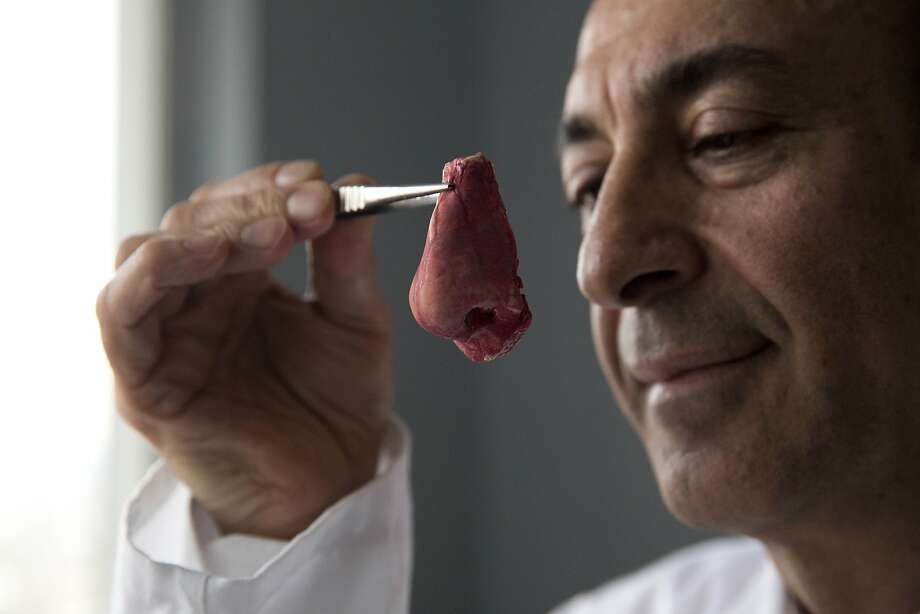 "Professor Alexander Seifalian poses for photographs with a synthetic polymer nose at his research facility in the Royal Free Hospital in London, Monday, March 31, 2014.  In a north London hospital, scientists are growing noses, ears and blood vessels in the laboratory in a bold attempt to make body parts using stem cells. It is among several labs around the world, including in the U.S., that are working on the futuristic idea of growing custom-made organs in the lab. While only a handful of patients have received the British lab-made organs so far? including tear ducts, blood vessels and windpipes ? researchers hope they will soon be able to transplant more types of body parts into patients, including what would be the world's first nose made partly from stem cells. ""It's like making a cake,"" said Alexander Seifalian at University College London, the scientist leading the effort. ""We just use a different kind of oven."" (AP Photo/Matt Dunham) Photo: Matt Dunham, Associated Press"