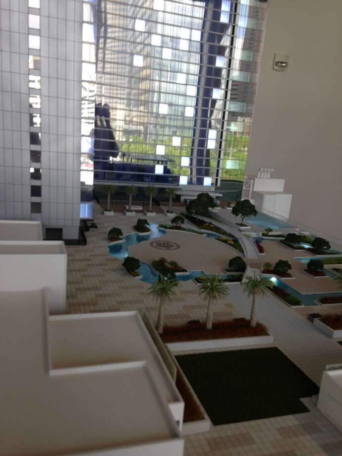 Model of the Marriott Marquis. The convention center hotel will have a 60,000 square foot amenity deck. Photo: Erin Mulvaney